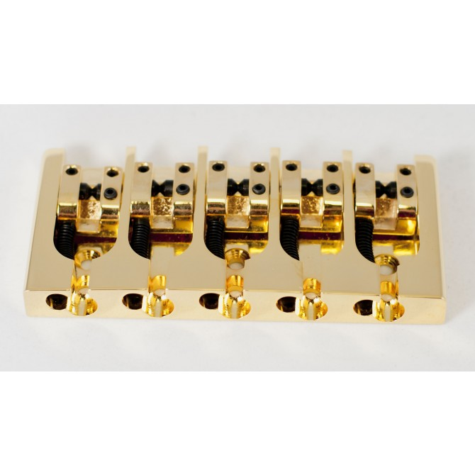 Hipshot AStyle 5String .787 Bass Bridge Brass Gold 20mm Spacing