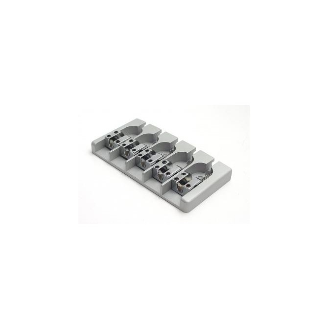 Hipshot AStyle 5String .787 Bass Bridge Aluminum Satin 20mm Spacing