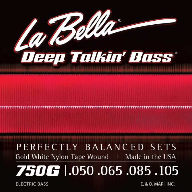 Labella 750G Gold White Nylon Tapewound 4 String Light (50 - 65 - 85 - 105) Long Scale