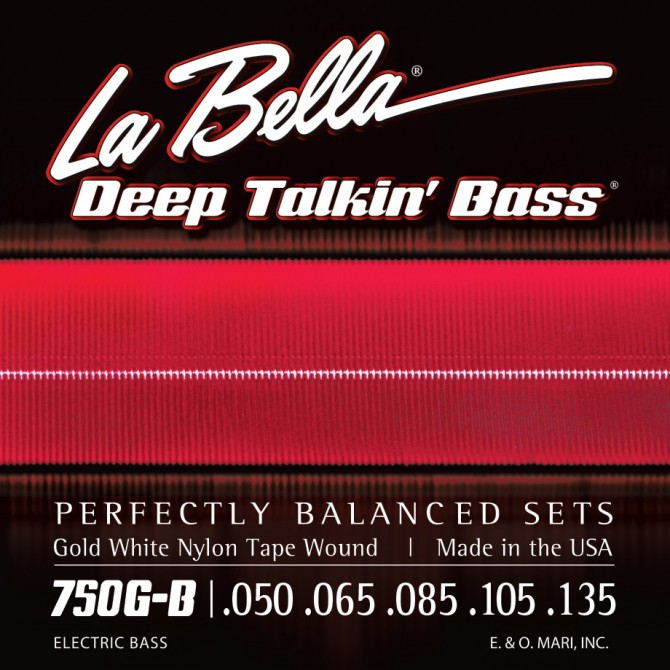 Labella 750G-B-XL Gold White Nylon Tapewound 5 String Light (50 - 65 - 85 - 105 - 135) Extra Long Scale