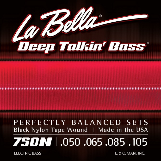 Labella 750N Black Nylon Tapewound 4 String Light (50 - 65 - 85 - 105) Long Scale