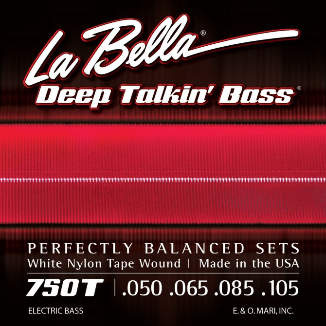 Labella 750T-B White Nylon Tapewound 5 String Light (50 - 65 - 85 - 105 - 135) Long Scale