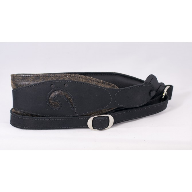 LM Distressed Suede on Black Leather Bass Guitar Strap