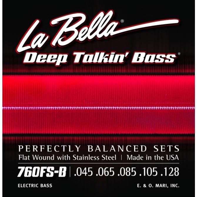 Labella 760FS-B-M Deep Talkin' Bass Flatwound 5 String Standard (45 - 65 - 85 - 105 - 128) Medium Scale