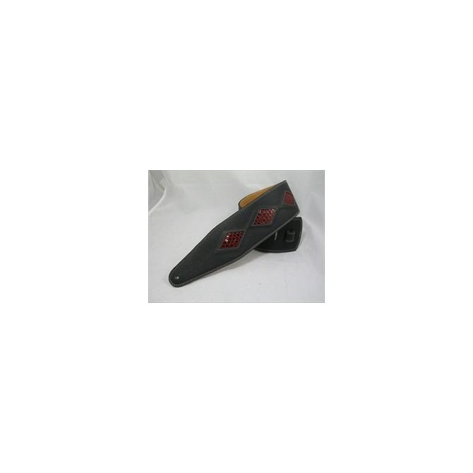 Pete Schmidt Artisan Series Red Diamonds in Black Leather Bass Guitar Strap