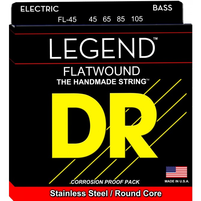 DR FL-45 Legend Flatwound 4 String Medium (45 - 65 - 85 - 105) Long Scale