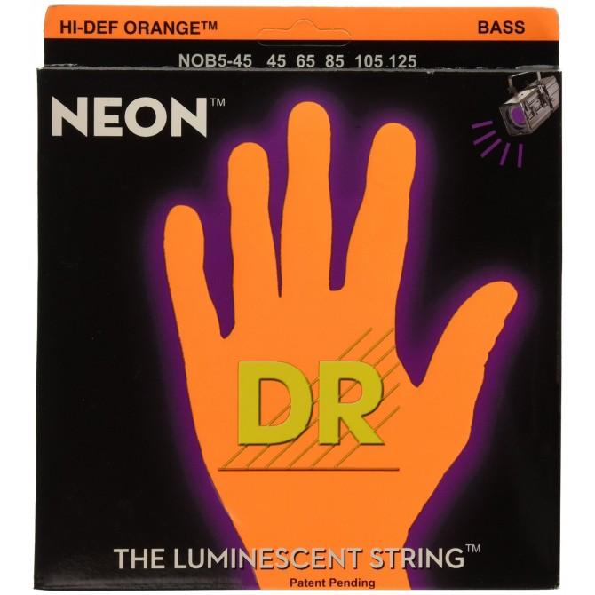 DR Strings -  NOB5 -45 Neon Hi-Def Orange 5-string set