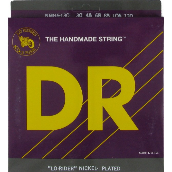 DR NMH6-130 Nickel Lo Rider 6 String Medium (30 - 45 - 65 - 85 - 105 - 130) Long Scale