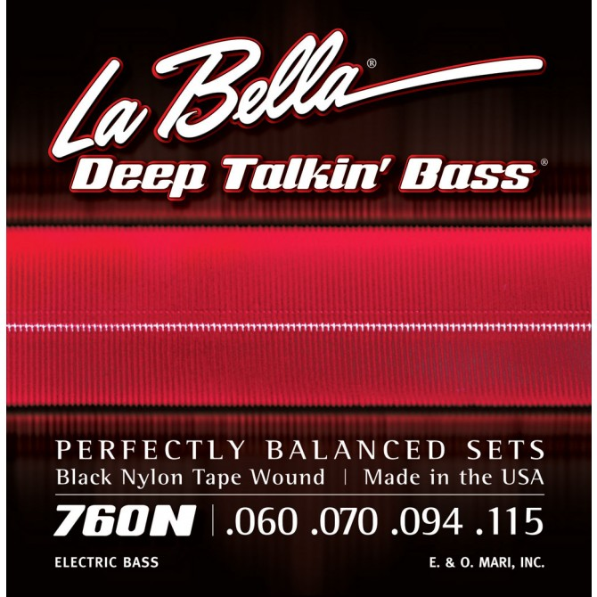 Labella 760N-B Black Nylon Tapewound 5 String Medium (60 - 70 - 94 - 115 - 135) Long Scale