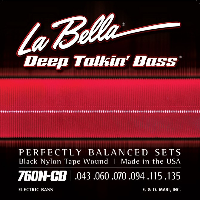 Labella 760N-CB Black Nylon Tapewound 6 String Medium (43 - 60 - 70 - 94 - 115 - 135) Long Scale