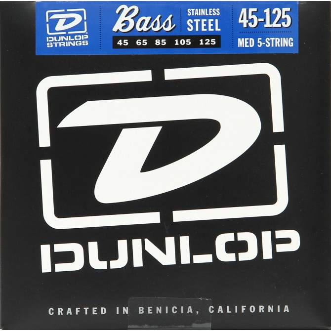 Dunlop Stainless Steel Wound 5 String Medium (45 - 65 - 85 - 105 - 125) Long Scale
