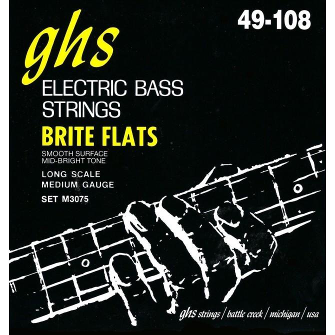 GHS M3075 Bass Brite Flats 4 String Medium (49 - 62 - 84 - 108) Long Scale