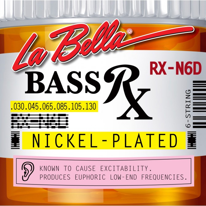 Labella RX-N6D RX Nickel Plated Roundwound 6 String Medium (30 - 45 - 65 - 85 - 105 - 130) Long Scale