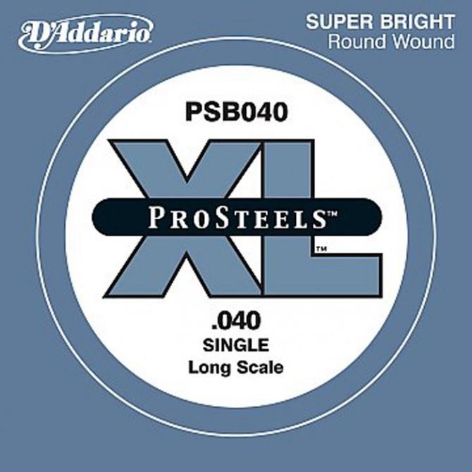 D'Addario PSB040-SL, Single String, ProSteel, Super Long (40)