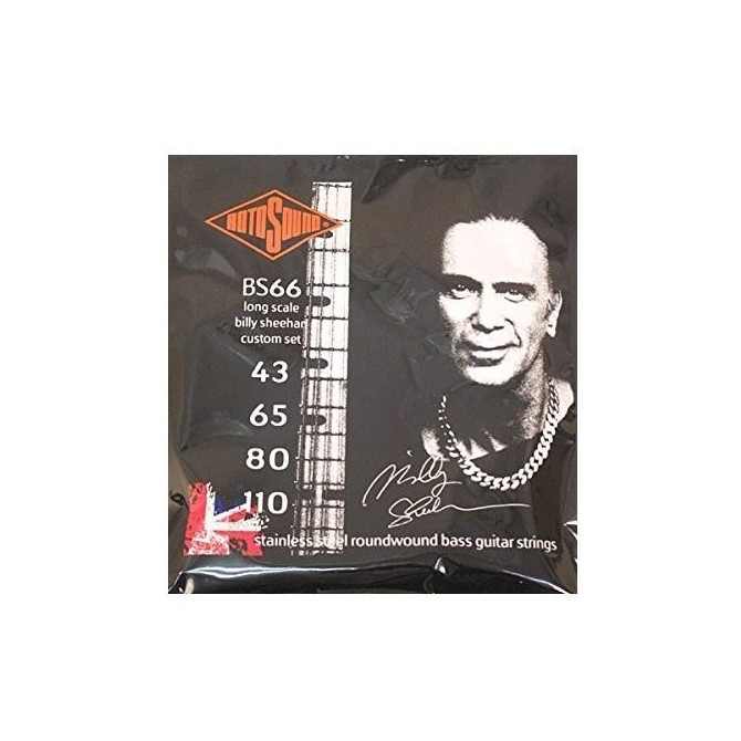Rotosound BS66 Billy Sheehan Signature Set Stainless 4 String Medium Light (43 - 65 - 80 - 110) Long Scale