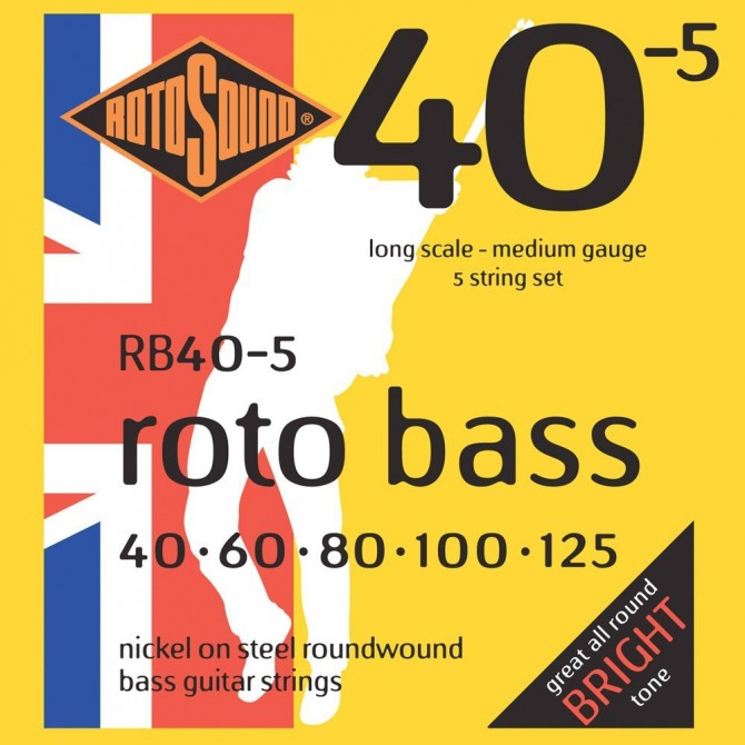 RotoSound RB40-5 Roto Bass 5 String Hybrid (40 - 60 - 80 - 100 - 125) Long Scale