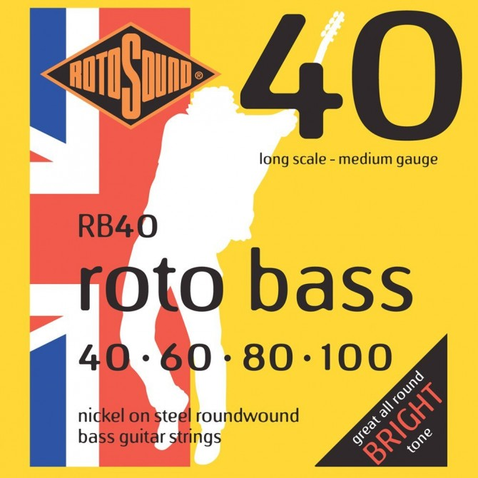 RotoSound RB40 Roto Bass 4 String Hybrid (40 - 60 - 80 - 100) Long Scale