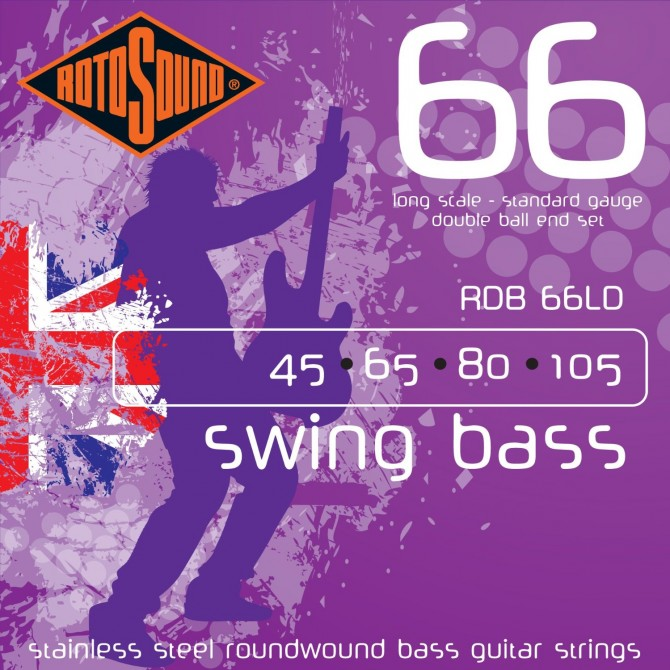 Rotosound RDB66LD Swing Bass 66 Stainless Double Ball 4 String Standard (45 - 65 - 80 - 105) Long Scale