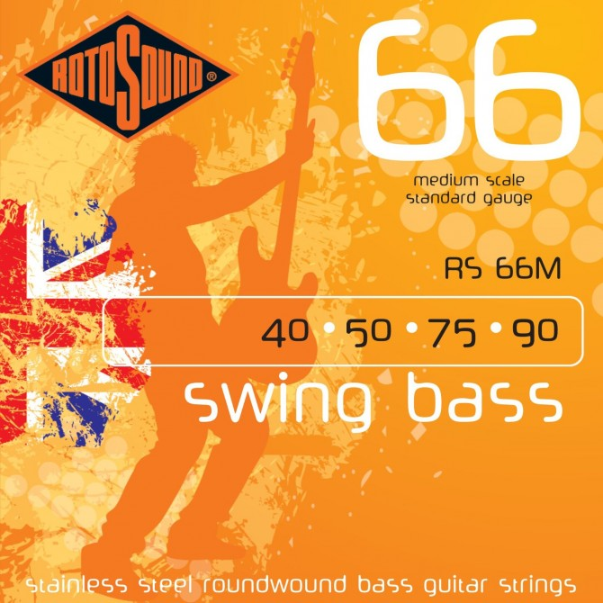 Rotosound RS66M Swing Bass 66 Stainless 4 String Light (40 - 50 - 75 - 90) Medium Scale