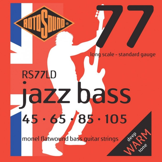 Rotosound RS77LD Jazz Bass 77 Monel Flatwound 4 String Standard (45 - 65 - 85 - 105) Long Scale