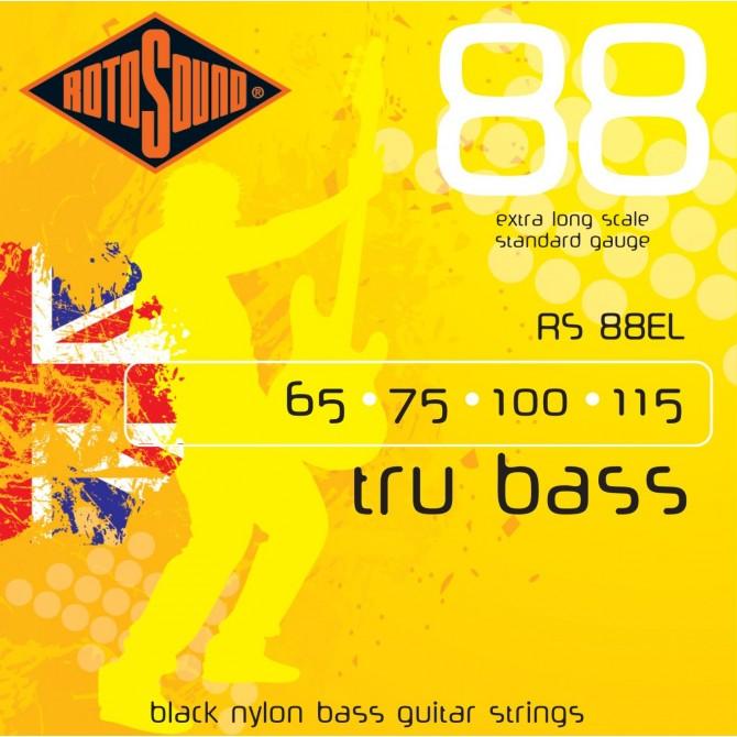 Rotosound RS88EL Tru Bass 88 Black Nylon Tapewound 4 String Standard (65 - 75 - 100 - 115) Extra Long Scale