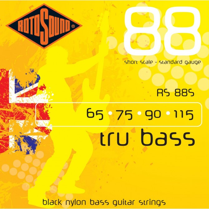 Rotosound RS88S Tru Bass 88 Black Nylon Tapewound 4 String Standard (60 - 75 -  90 - 115) Short Scale