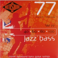 RotoSound SM77 Jazz Bass 77 Monel Flatwound 4 String Hybrid (40 - 60 - 80 - 100) Long Scale